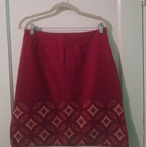 Talbot's Red Embroidered Trim Skirt
